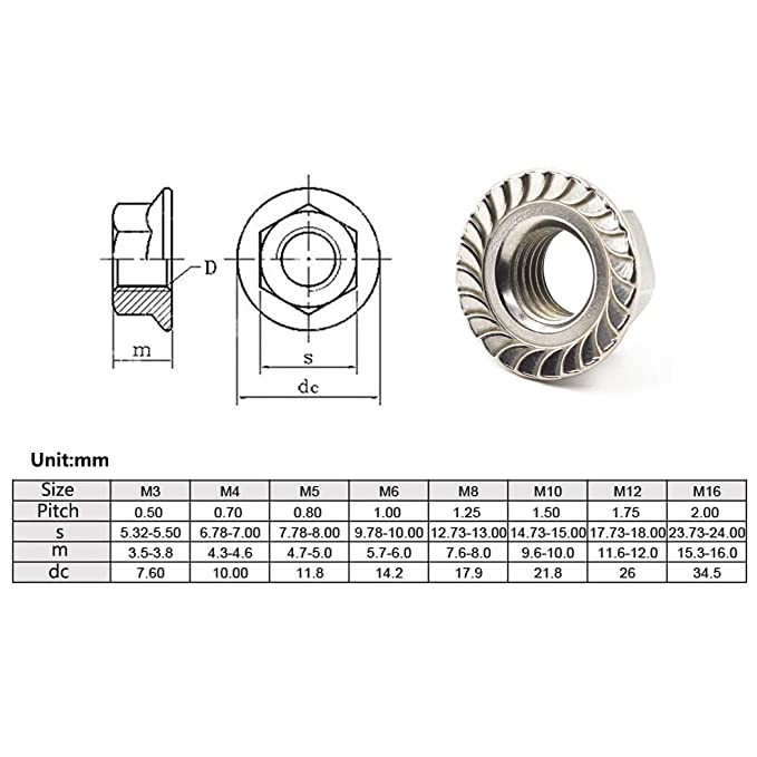 A2 Stainless Steel Flanged Nyloc Nuts Flange Nut DIN 6926 M10-5 Pack