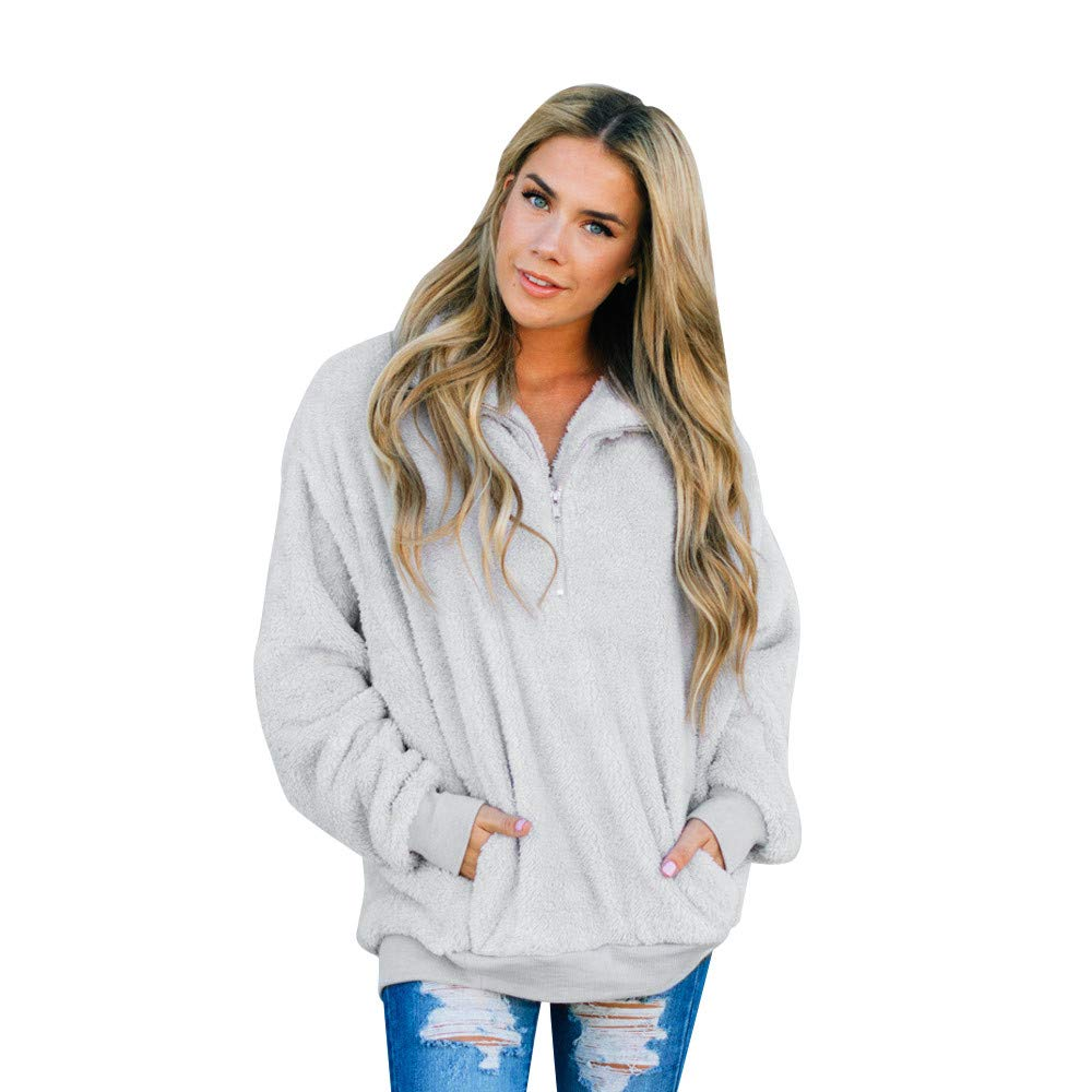 Amazon.com: Sherpa Jacket Women Pullover Sweaters Fleece Zipper Sweatshirt Tunic Blouse Winter Warm Jumper with Pocket Basic Designed (White, ...