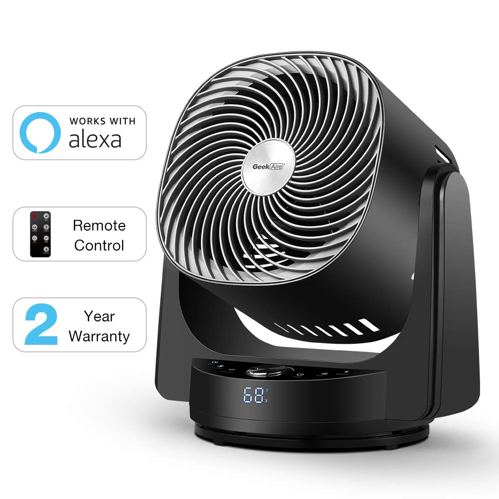 Geek Aire Fan, Air Circulator 3D Oscillating Floor Fan Works with Alexa and Google, High Velocity Stand Fan with 4 Speeds, 6h Timer, AI Mode, Whole Room Cooling Fan with App and Remote Control, Black by Geek Aire