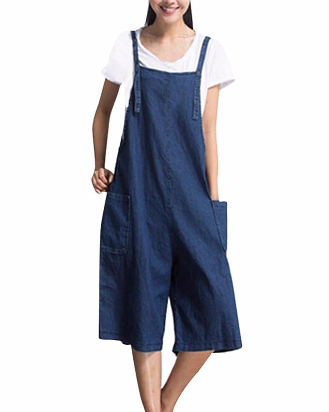 finest selection d1a27 d4bbe StyleDome Donna Salopette Jeans Ragazza Lunga Casual Elegante Moda Tasche  Sexy Ufficio Spiaggia