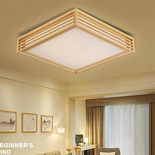 BRIGHTLLT Caja de madera japonesa de luz del techo y las luces de la habitación de madera maciza de madera maciza salón registra balcón,450mm LED dormitorio: Amazon.es: Iluminación