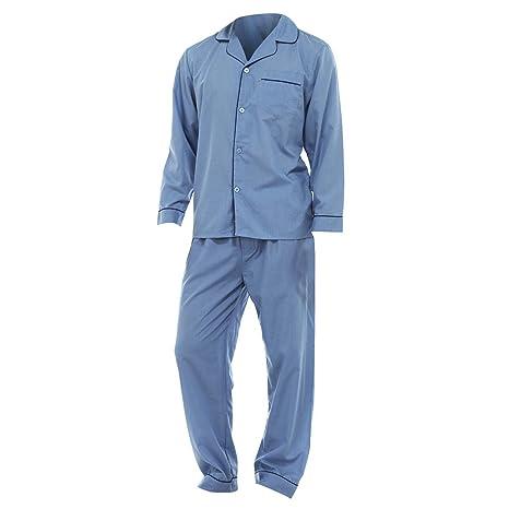 Conjunto pijama camisa de manga larga y pantalones liso hombre caballero: Amazon.es: Ropa y accesorios