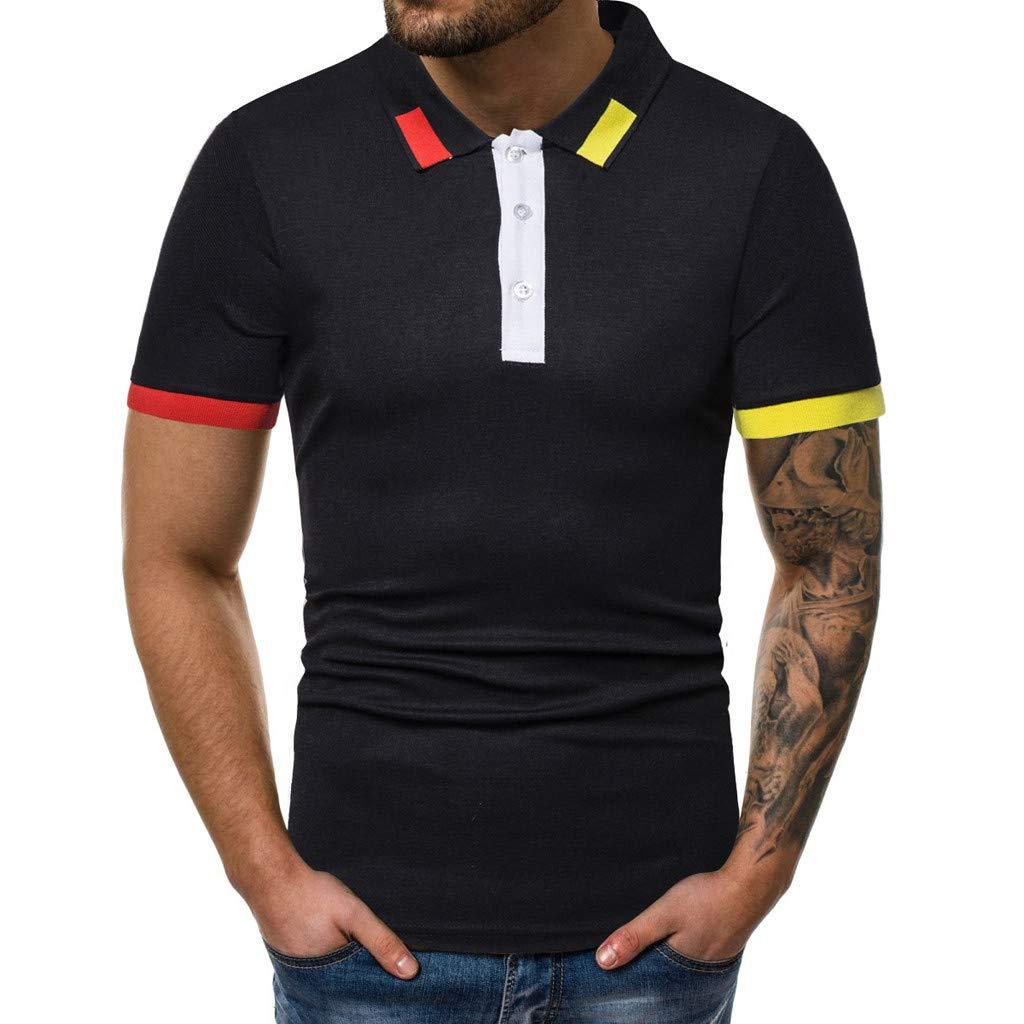 YanHoo Patrón de Empalme a Rayas de Color Puro para Hombre Camisa ...