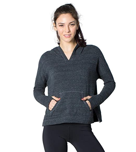 122dd6b117 Raquel- Women s Boyfriend-Fit Tri-Blend V-Neck Full Sleeve Cropped Fleece Pullover  Hoodie at Amazon Women s Clothing store