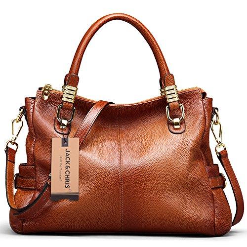 [Jack&Chris Ladies Handbags and Purses Tote Bag for Women Leather Shoulder Bag, WBDZ019 (Brown)] (Leather Ladies Handbag)