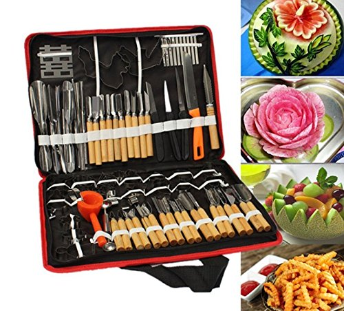 Accguan Set Portable W Box Vegetable Fruit Food Peeling Carving Tools Kit With Bag Pack (80pcs) (Carving Vegetable)