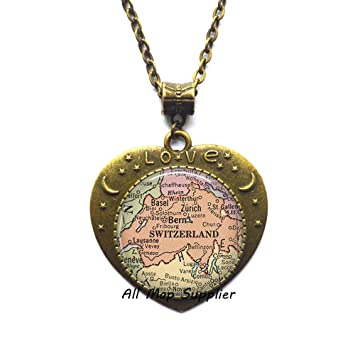 Amazon.com: AllMapsupplier Fashion Necklace,Switzerland map ...