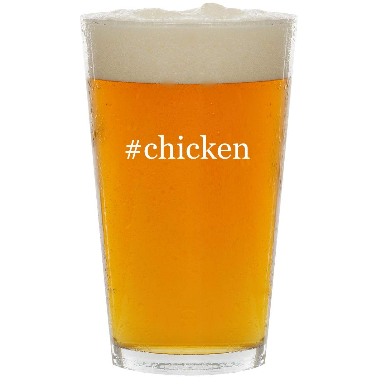 #chicken - Glass Hashtag 16oz Beer Pint