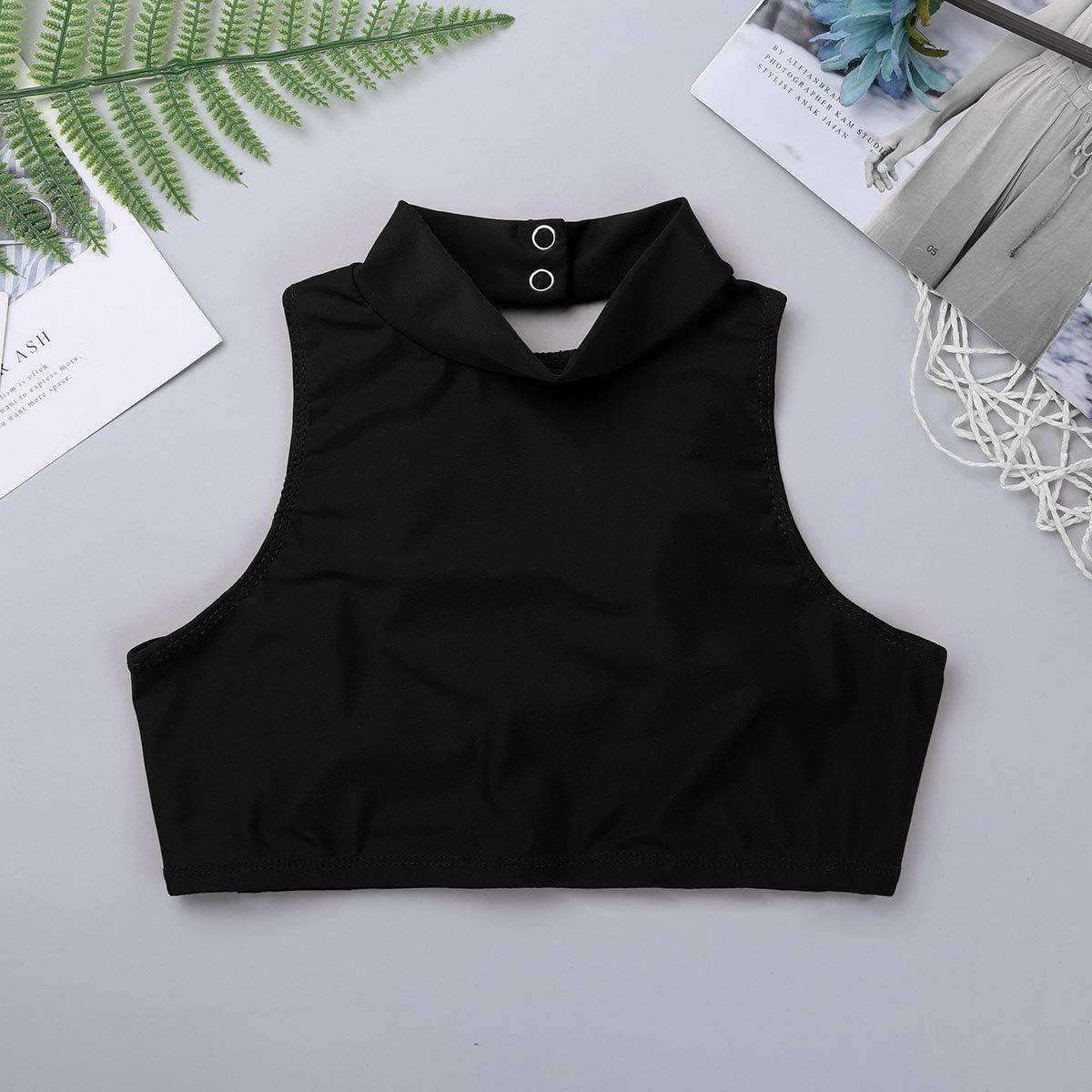 moily Big Girls High Turtleneck Strappy Back Crop Top Athletic Tank Midi Sports Bra Gymnastics Dancewear Black 12