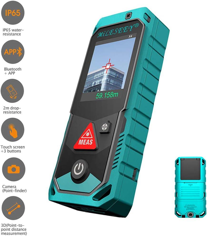 Inteligente Mano Telémetro Medida Aplicación Bluetooth, Giratorio Pantalla A Color con Pantalla Táctil, Medición 3D Sensor De Inclinación De 360 ° Protección IP65, 80M