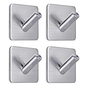 FOTYRIG Heavy Duty Adhesive Wall Hooks Hangers Stainless Steel Towel Hooks Stick On Home Bathroom Kitchen for Dog Leash, Umbrellas, Scarves, Towels, Robes, Bags, Coats, Keys, Calendars -4 Packs
