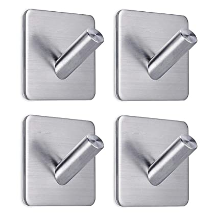 Etonnant FOTYRIG Heavy Duty Adhesive Wall Hooks Hangers Stainless Steel Towel Hooks  Stick On Home Bathroom Kitchen