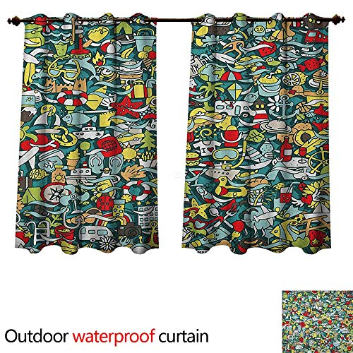 Anshesix Doodle Outdoor Ultraviolet Protective Curtains Simple Mini Drawings of Holiday Related Concepts Caravan Compass Lifebuoy Breakfast W72 x L63(183cm x 160cm)