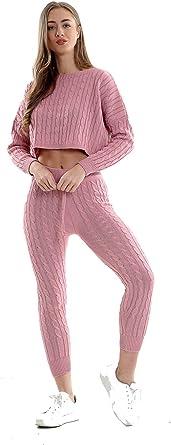Ladies Womens Cable Knitted Crop Top Leggings Loungewear Tracksuit Set UK 8-14