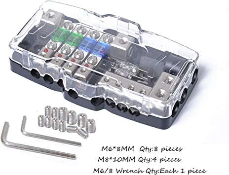 TIYANG Car Audio Stereo Distribution Fuse Block Ground Mini ANL Fuse Box Distribution 0//4ga 4 Way Fuses Box 30A 60A 80Amp Red LED Indicator