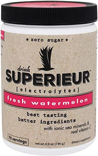 Superieur Electrolytes – Electrolyte Hydration Powder, Watermelon, 70 Servings – Keto Friendly, Non-GMO, Zero Sugar, Vegan