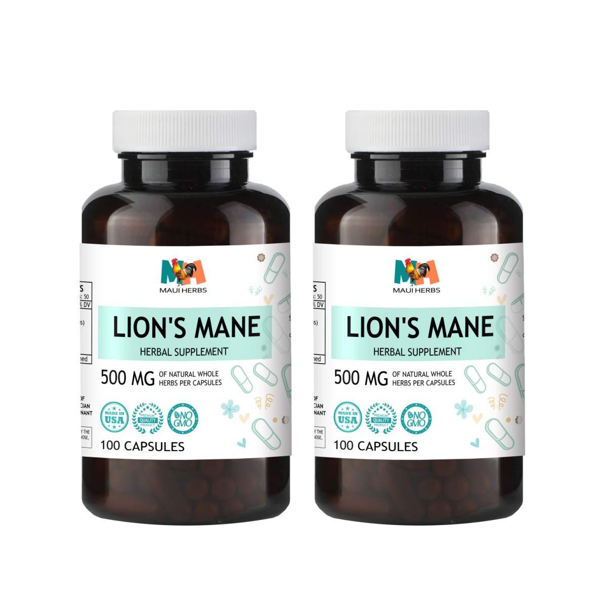 Lion s Mane Capsules, 500 mg, Organic Lion s Mane Mushroom Hericium erinaceus 2×100 Capsules