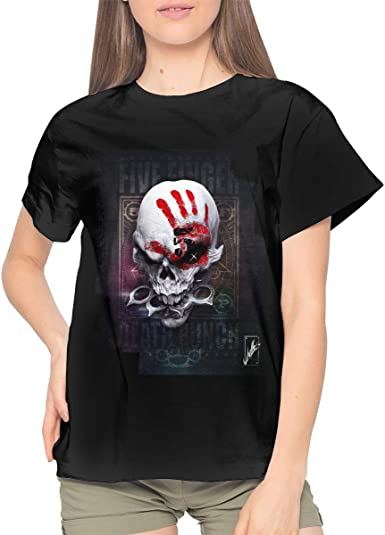 Skull Death Fashion Womens T-Shirt Tops V Neck Shirt Slim Fit Short Sleeve Tees