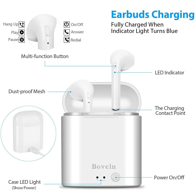 Auriculares inal/ámbricos Bluetooth con micr/ófono HD y Caja de Carga para iPhone Samsung y Otros Auriculares para tel/éfonos Inteligentes. Auriculares Bluetooth