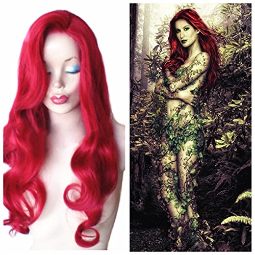 [B-G 24 Inches Red Wigs High Quality Long Curly Women Wigs Heat Resistant Charming Hair Wigs for Cosplay Party Festival etc + 1 Free Wig Cap] (Jessica Rabbit Wig)