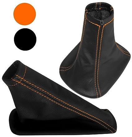 Funda para palanca de cambios y freno de mano 100/% PIEL GENUINA negro con costuras naranja AERZETIX