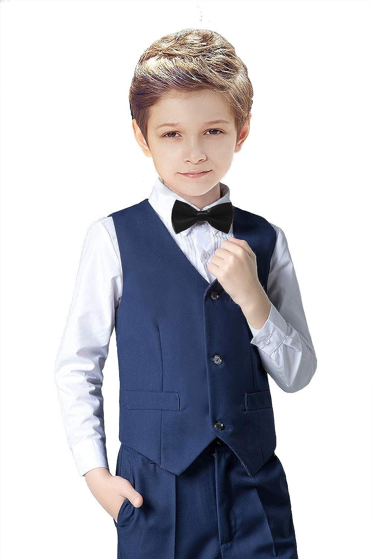 SaiLiiny Boys 4 Pieces Suits Slim Fit Outfits Vest Sets Black Blue Formal Dresswear for Boy