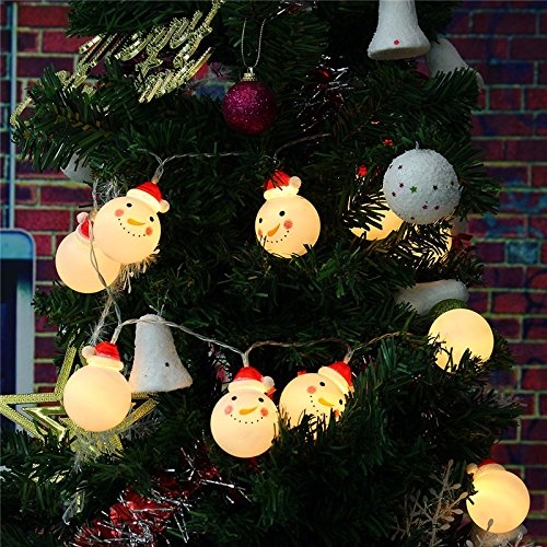 [Christmas Xmas LED String Light Set with 10 Large Snowman -Warm white Color- 1.9x2.5