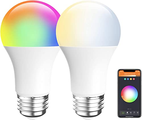 Amico LED Smart Light Bulb, RGB Color Changing WiFi Bulb 2.4G , No Hub Required,Compatible with Alexa, Siri, Google Home, A19 E26 9W 60W 2 Pack