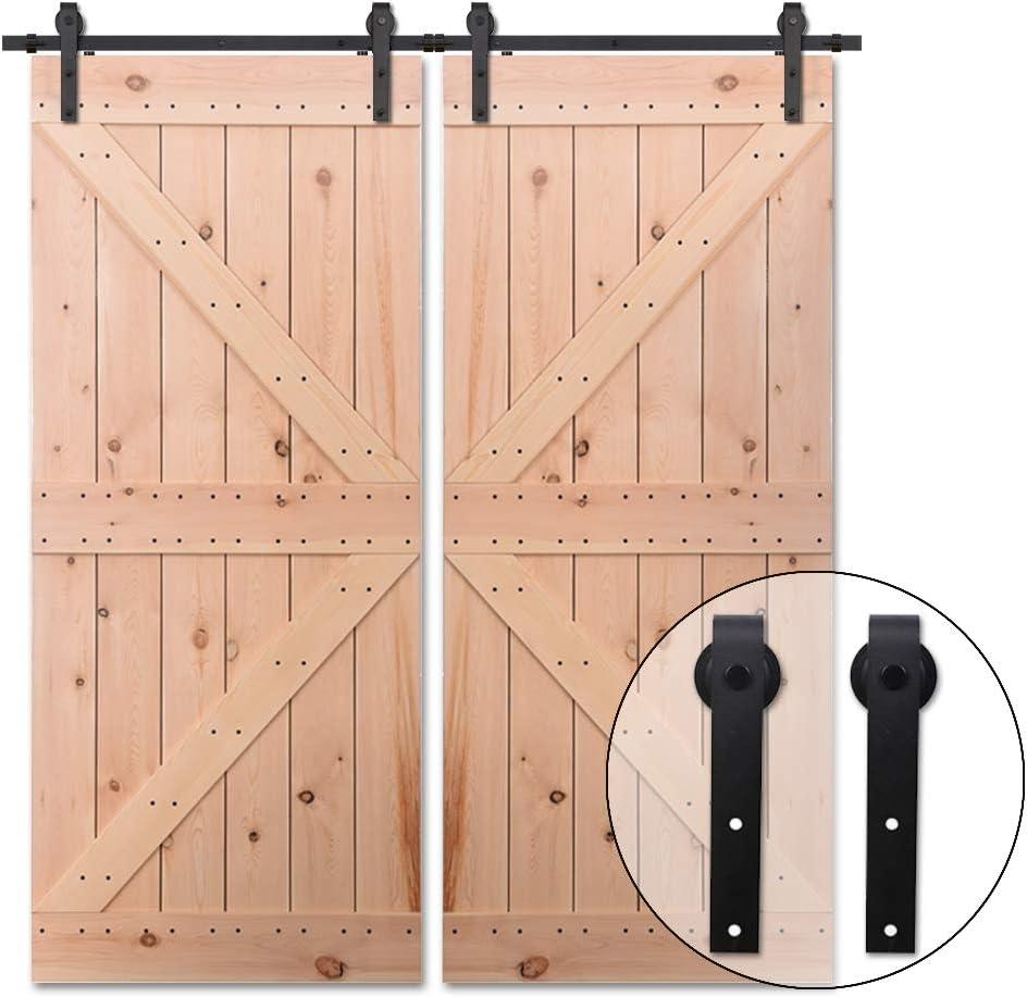 182CM/6FT Puerta de granero corredera estilo rústico puerta de granero corredera de madera para armario puerta granero herraje colgadocon guía rodamientos deslizantes, para puerta doble: Amazon.es: Bricolaje y herramientas