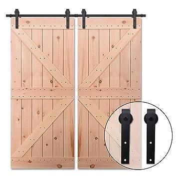 365CM/12FT Puerta de granero corredera estilo rústico puerta de granero corredera de madera para armario puerta granero herraje colgadocon guía rodamientos ...