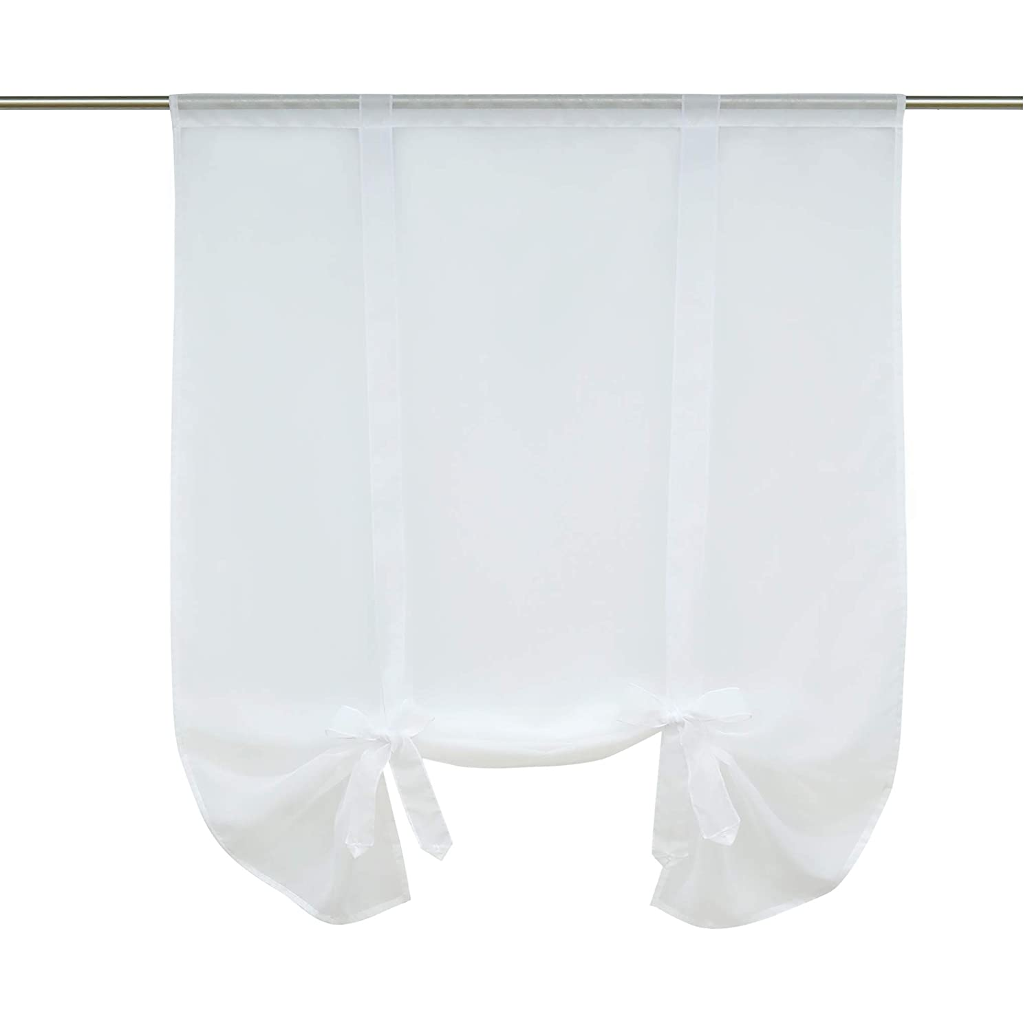"ISINO 1 Piece Rod Pocket Ribbon Tie Up Curtain Sheer Voile Balloon Shades W 23"" x H 55"" White"