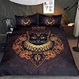 Sleepwish Mandala Cat Bedding 3 Pieces Black Rose Gold Duvet Cover Queen Cat Wearing Crown Animal Bedspreads for Teens Girls (King)