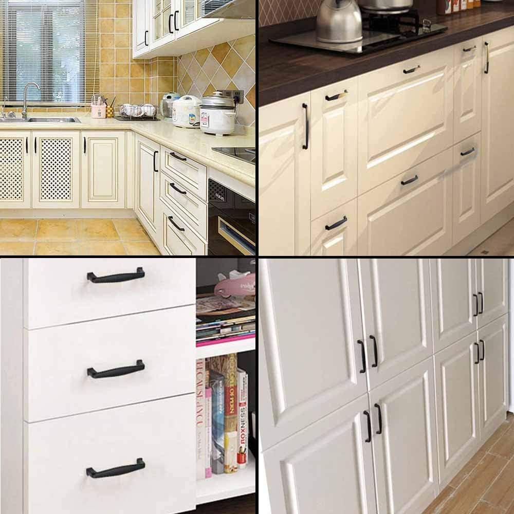 DELSEN Lot de 10 poign/ées de placard de cuisine noires pour armoires et tiroirs espacement des trous 128 mm