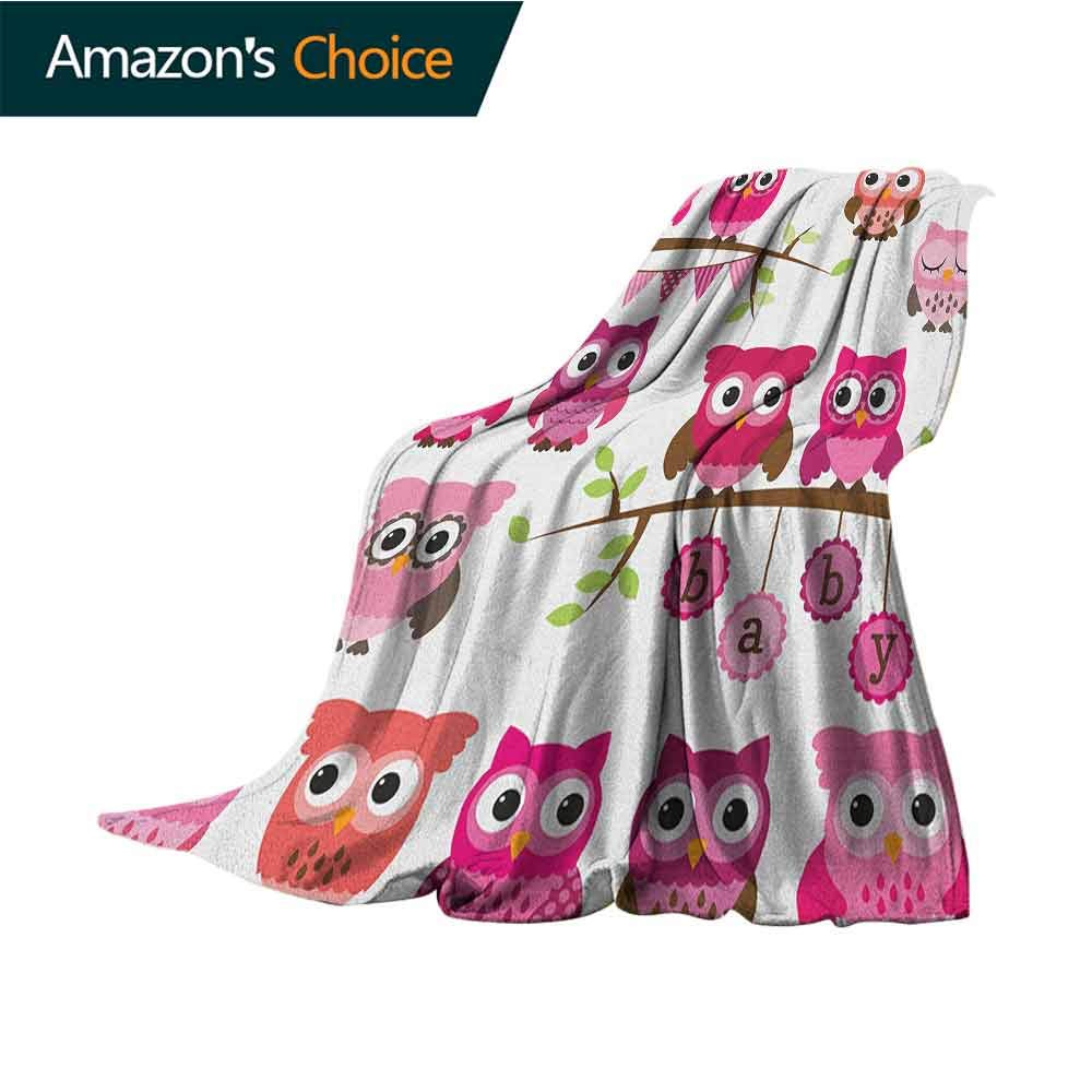 Nursery Weighted Blanket,Girl Baby Shower Themed Owls and Branches Adorable Cartoon Animal Characters for Bed & Couch Sofa Easy Care,50'' Wx70 L Purple Pink Brown