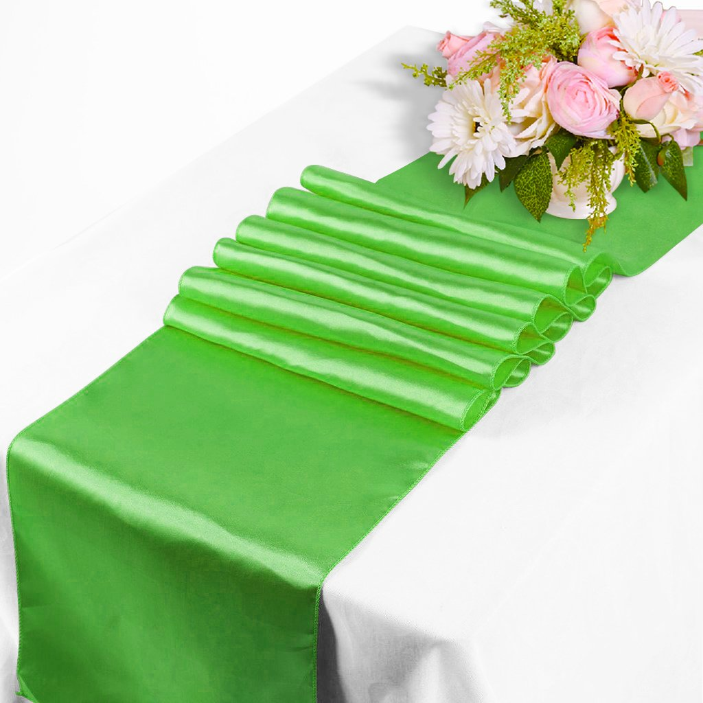 Tts 12x108inch satin table runners chair swags wedding party table tts 12x108inch satin table runners chair swags wedding party table decoration apple green touch global ltd junglespirit Images