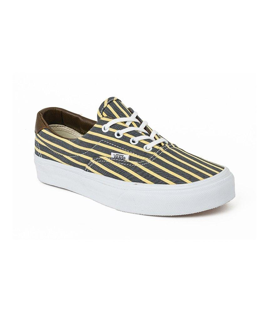 Vans Unisex Era 59 Stripes Sneakers Yellow M5.5 W7