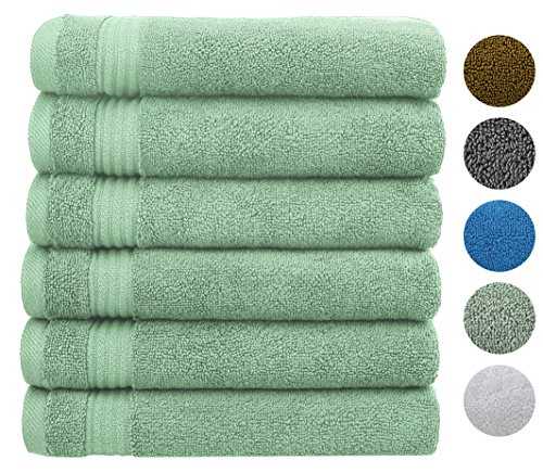 Cotton Paradise 2018 (New Collection) Luxury Hotel & Spa Collection 100% Combed Cotton and Eco-Friendly, Oversize 16x30 Extra Large Hand Towel Set,Set of 6 (Cyan (100% Bamboo Towel Set)