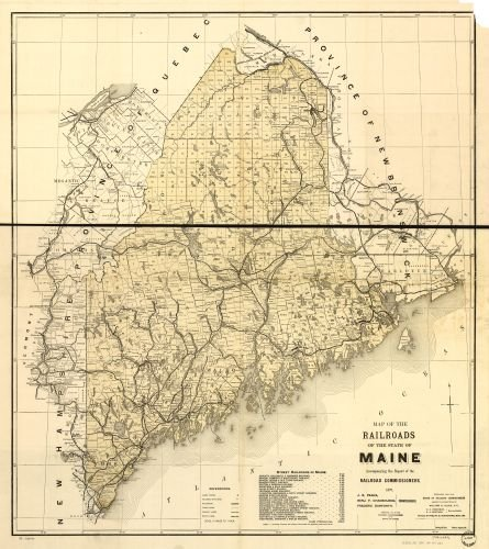 1899 Map of the railroads of the state of Maine accompanying the report of the railroad commissioners. 1899. Shows drainage, townships, counties, cities and towns, railroads with names, and a list of