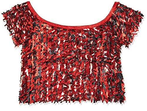 [Gia-Mia Dance Big Girls' Sequin Cropped Tee Dance Jazz Hip Hop Costume Performance Team, Red, L] (Dance Costumes Kids Jazz)