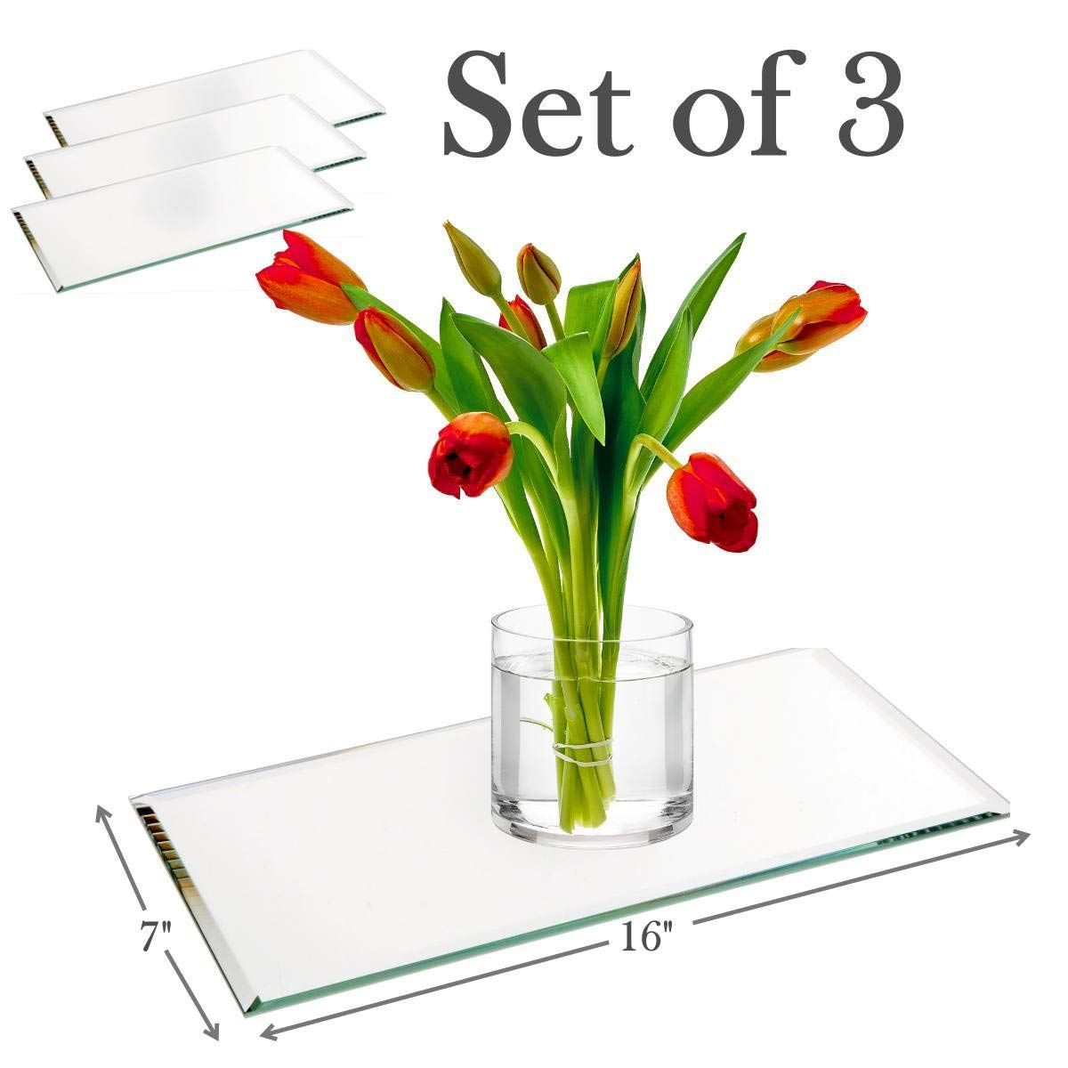 7''x16'' Rectangle Mirror Plate with Bevel Edge Set of 3 - Glass Mirror Tray, Base for Wedding Centerpieces, Candles and Wall Decor by PARNOO