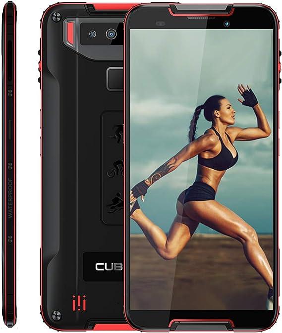 CUBOT Quest 4G IP68 Móvil Todorerreno para Viajes o Deporte Smartphone Impermeable 4GB+64GB 5.5 Pulgadas Android Dual SIM Dual Cámara 12Mp 4000mAh con Botón Personaliado NFC Type-C Negro y Rojo: Amazon.es: Electrónica