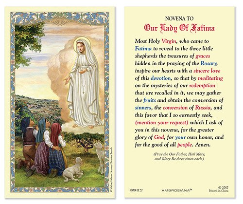 CB Our Lady of Fatima Laminated Holy Card with Catholic Novena to Our Lady of Fatima Prayer on The Back (5 Pack) -
