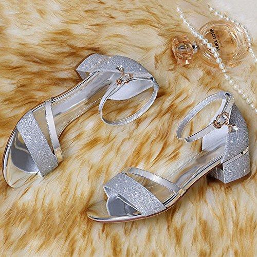 Cabeza De Un Transpirable Superficiales Moda Plateado para Sandalias Comodidad Hebilla De Mujer Salvaje Redonda Diamantes Imitación Botón BzA4Ywq