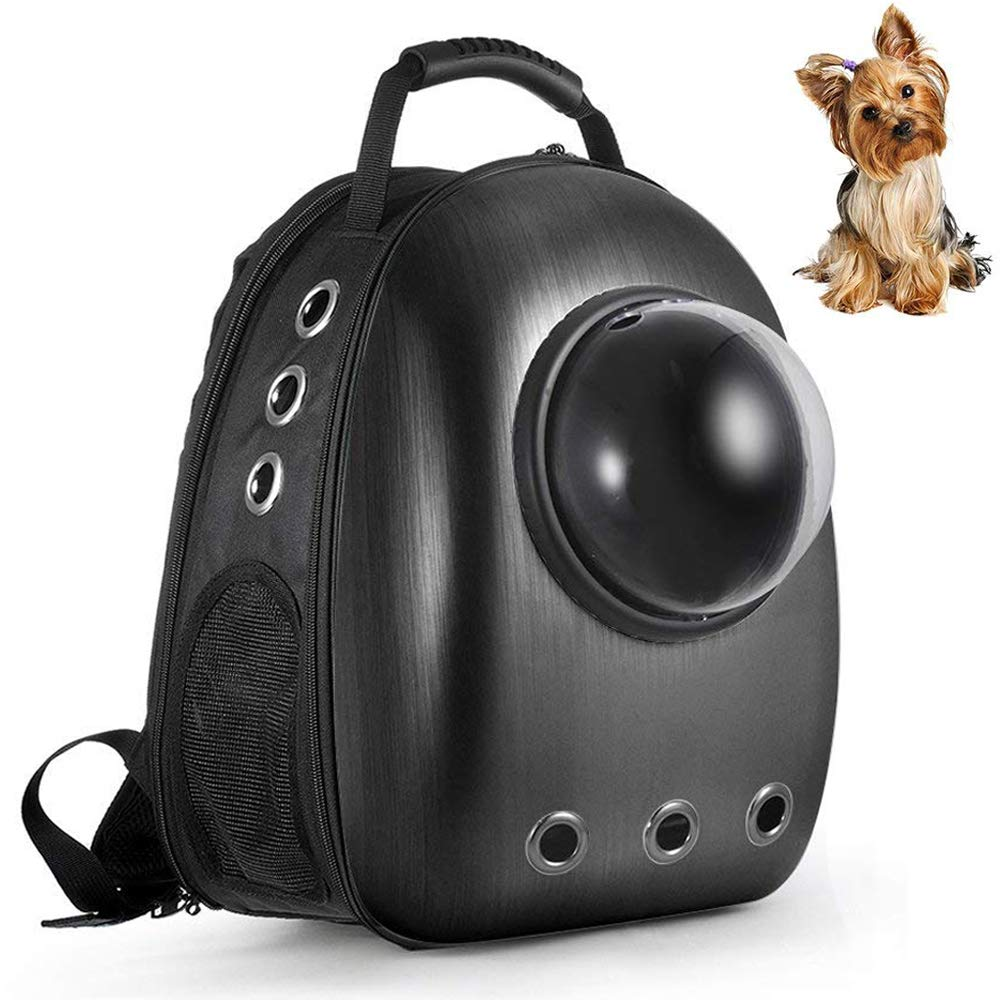 Black Lemonda Updated Extendable Portable Pet Travel Carrier Backpack,Space Capsule Bubble Design,Waterproof Handbag Backpack for Cat and Small Dog Mutil colors to Choose