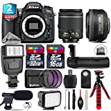 Holiday Saving Bundle for D7100 DSLR Camera + AF-S 35mm f/1.8G DX Lens + AF-P 18-55mm + Battery Grip + Shotgun Microphone + LED Kit + 2yr Extended Warranty + 32GB Class 10 - International Version