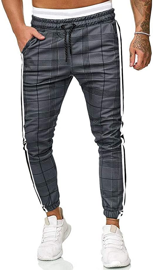 GoodLock Mens Fashion Patchwork Jogger Pants Casual Autumn Winter Drawstring Sweatpants Trouser Pants