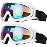 Elimoons Ski Goggles, Pack of 2, Snowboard Goggles for Kids, Boys & Girls, Youth, Men & Women, Helmet Compatible with UV 400