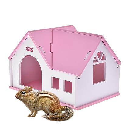 Pequeños animales de madera para casa de estar hámsters erizos hámster dorado cálido cómodo villa ecológico