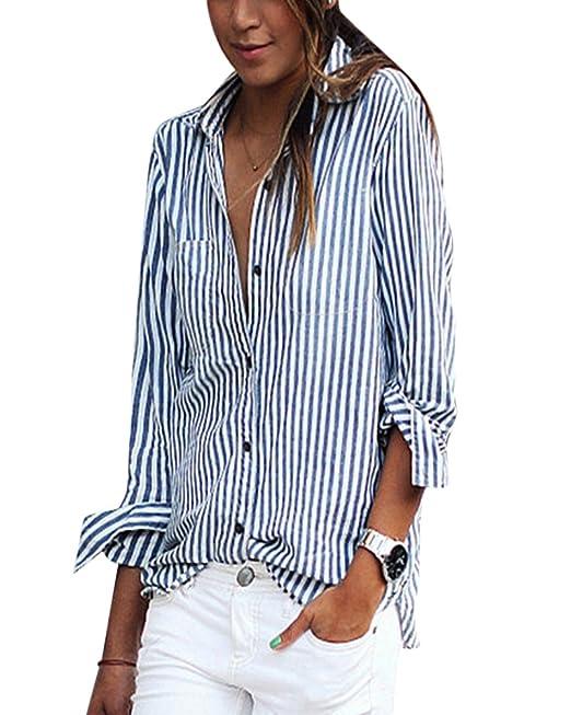 ShiFan Camiseta Rayas Mujeres Camisas Tallas Grandes Casuales Manga Larga Anchas: Amazon.es: Ropa y accesorios
