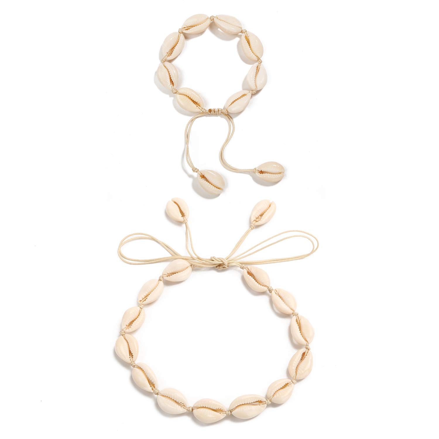 0df52514b782c SCIONE Shell Necklace Choker Natural Seashell Necklace and Anklet Bracelet  Cowrie Shell Necklace Wakiki Hawaii Beach Gypsy Jewelry for Women Girls